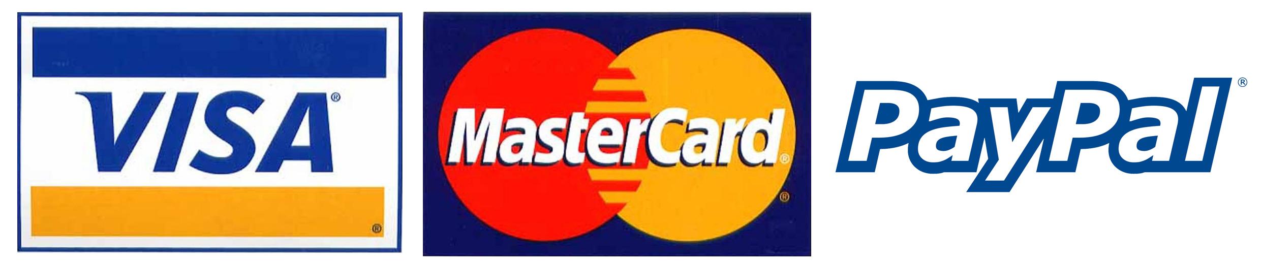 We Accept Visa Mastercard and Paypal